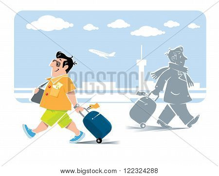 Vector illustration of  funny fast paced man passenger with suitcase in shorts and sneakers on the background of the airport