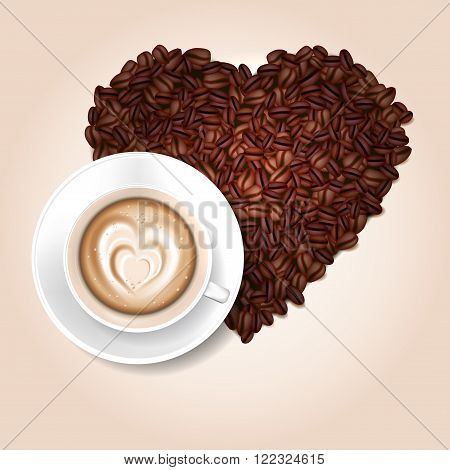 Cup of coffee and coffee beans heart shape - vector illustration