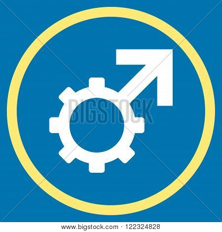 Technological Potence vector bicolor icon. Image style is a flat icon symbol inside a circle, yellow and white colors, blue background.