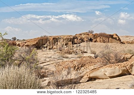Rock formation in the north of the Welwitschia Plains, Namibia