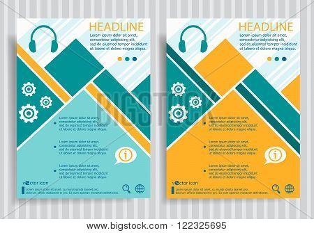 Headphone Web Symbol On Vector Brochure Flyer Design Layout Template