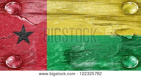 Guinea bissau flag with some soft highlights and folds