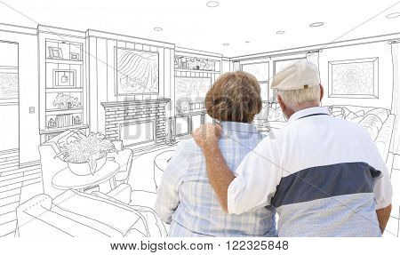 Curious Senior Couple Looking Over Custom Living Room Design Drawing.