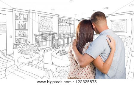 Curious Young Military Couple Looking Over Custom Living Room Design Drawing.