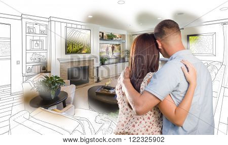 Curious Young Military Couple Looking Over Custom Living Room Design Drawing Photo Combination.