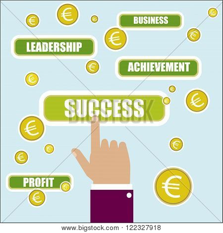 Business concept illustration. Success key word. Hand choise and euro