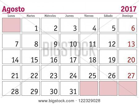 Agosto 2017 Wall Calendar Spanish