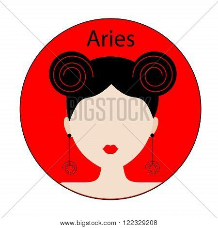 Aries zodiac sign. Icon with fashionable woman face with trendy hairstyle. Red and black colors. Perfect for design.