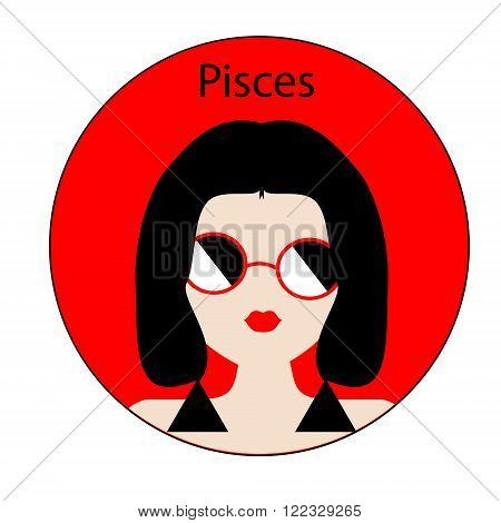 Pisces zodiac sign. Icon with fashionable woman face with trendy hairstyle. Red and black colors. Perfect for design.