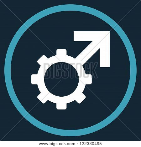 Technological Potence vector bicolor icon. Image style is a flat icon symbol inside a circle, blue and white colors, dark blue background.