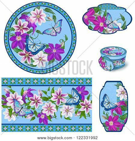 Set for packaging. Box round. Label. decoupage. Floral background. Flower border. Pattern. Mosaic. Flower clematis pink and purple bright butterflies.
