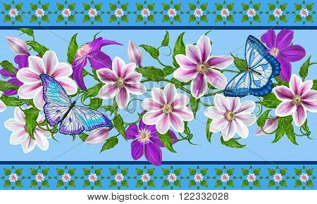 Flower clematis pink and purple bright butterflies.Horizontal floral border. Pattern seamless.
