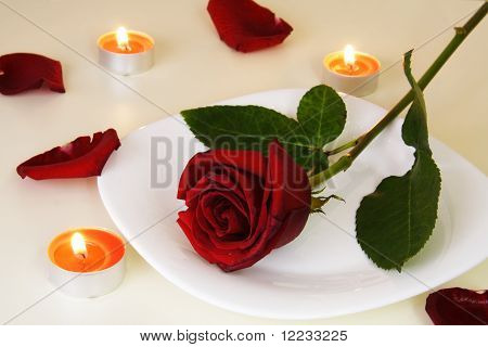 Table Setting For Romantic Candlelight Dinner