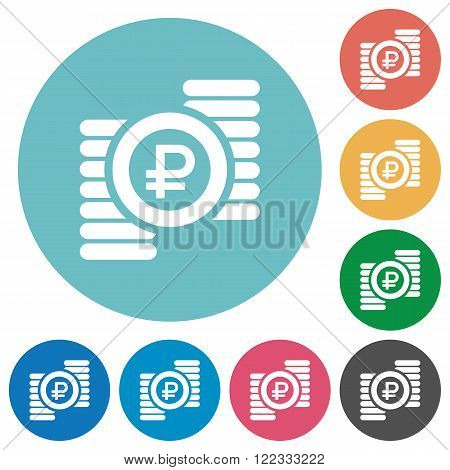 Flat ruble coins icon set on round color background.