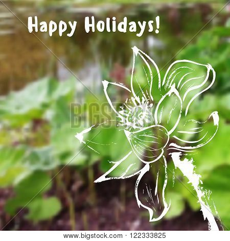 Greeting card with watercolor lotus flower on blurred background. Stock vector illustration.