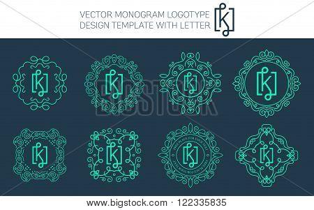 Vector monogram logo set with letter K. You can use in royal floral monogram design logo. Creative art monogram of logo ornament. Design vector illustration of letter K. Floral monogram logo style.