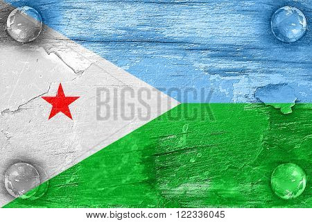 Djibouti flag with some soft highlights and folds