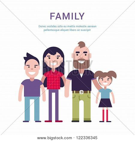 Family Concept Flat Style Vector Illustration. Father, Mother, Son And Daugther