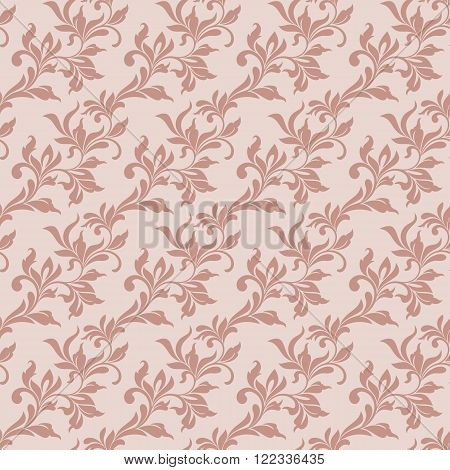 Elegant Seamless Pattern. Tracery Of Swirls And Leaves On A Pink Background. Vintage Style