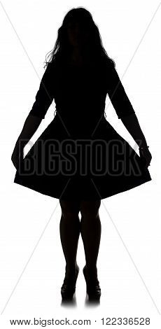 Pudgy woman in dress on grey background