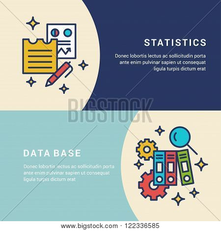 Set of Line Art Vector Business Concept Illustrations for Web Banners. Statistics Data Base