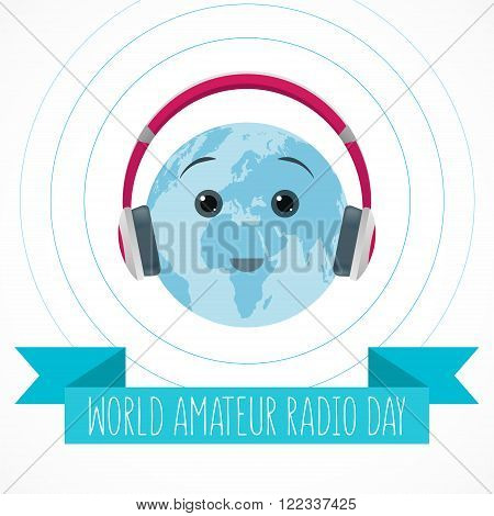 World Amateur Radio Day. Blue and white vector illustration. Cute globe with pink headphones radio waves and ribbon.