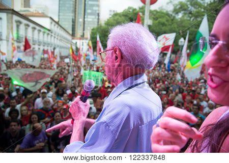 Rio de Janeiro, Brasil - March 18, 2016: political demonstration in favor of the government of President Dilma Rousseff and former President Luis Inacio Lula da Silva in the city of Rio de Janeiro.