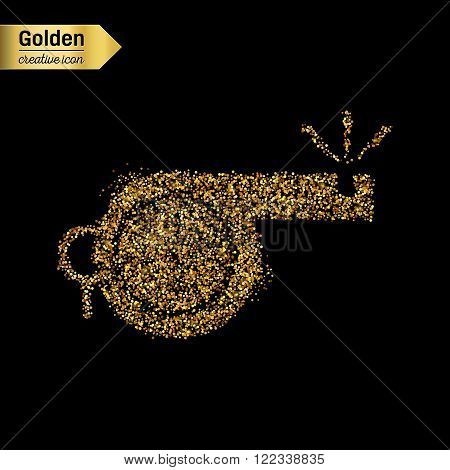 Gold glitter vector icon of whistle isolated on background. Art creative concept illustration for web, glow light confetti, bright sequins, sparkle tinsel, abstract bling, shimmer dust, foil.
