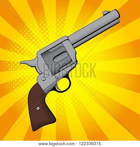 Gun in retro pop art style. Revolver in pop art style on a blue background. Vector illustration.
