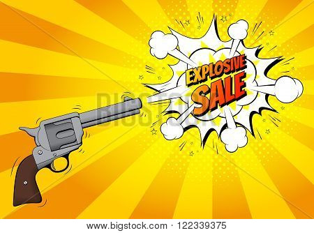 Explosive sale banner with gun. Vector illustration. Retro revolver in pop art style with bomb explosive background