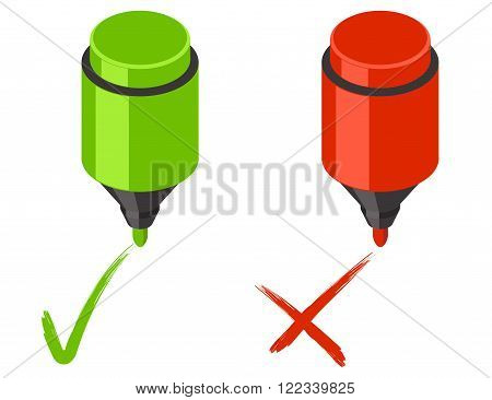 Check mark icons. Yes and no handdraw signs with marker. Vector illustration