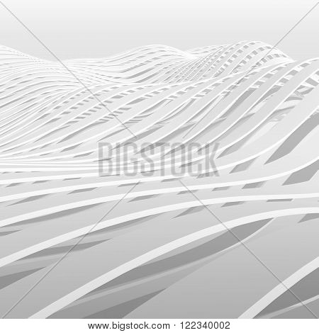 Abstract White Wavy Stripes Pattern Background 3D