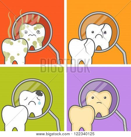 Tooth look at the dental mouth mirror. Concept of teeth problems vector illustration. No higiene chipped cracked tooth cavities stained Tooth.