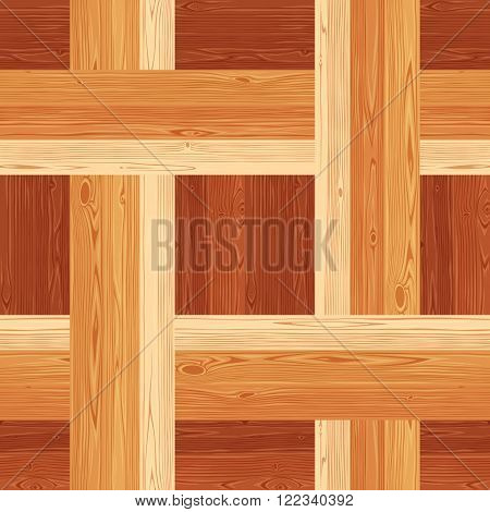 Square netting parquet seamless floor texture. Editable vector pattern in swatches.