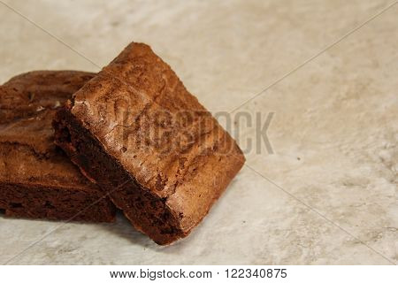 Delicious Homemade Baked Chocolate Brownie cake squares