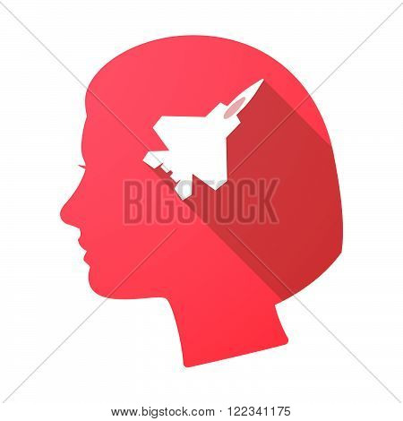 Long Shadow Female Head With A Combat Plane