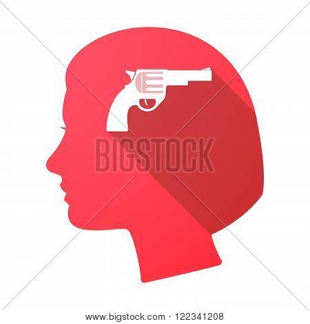 Long Shadow Female Head With A Gun