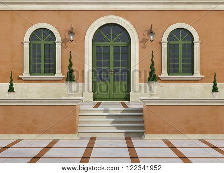 Outdoor Entrance Of A Classic Villa