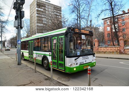 Moscow, Russia - March 14, 2016. City bus route 78 on a Gorokhovaya street
