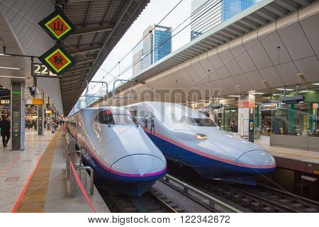 TOKYO, JAPAN - JAN 22: Shinkansen in Tokyo, Japan on JAN 22, 2016. Japan's main islands, are served by a network of high speed train lines that connect Tokyo with most of the major cities.