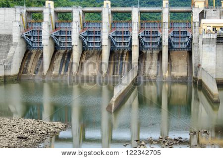 QUANG NAM, VIET NAM- FEB 24, 2016: Song Bung hydroelectric plant on Ho Chi Minh trail, at Quang Nam, Viet Nam, large spillway and water reservoir to product energy for industry