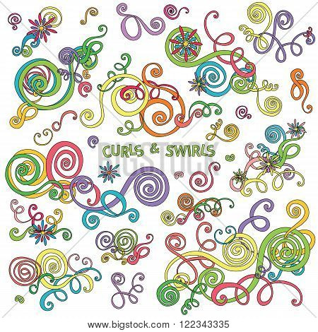 Curls and swirls design elements. Decorative floral background. Flower wave ornaments. Hand drawn doodle sketch style. Abstract floral graphics. Cute clip art spirals. Vector decoration illustration