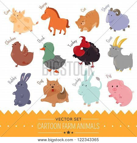 Set of cute cartoon farm animal icon. Vector illustration for funny domestic fauna design. Cow, horse, cat, sheep, chicken, duck, turkey goat rabbit dog donkey pig isolated on white background