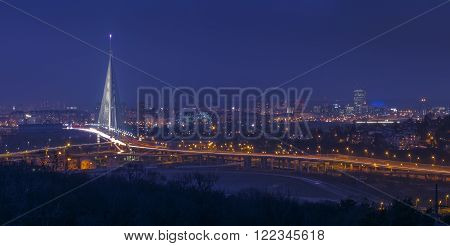 Beautiful city of Belgrade in fogy winter night