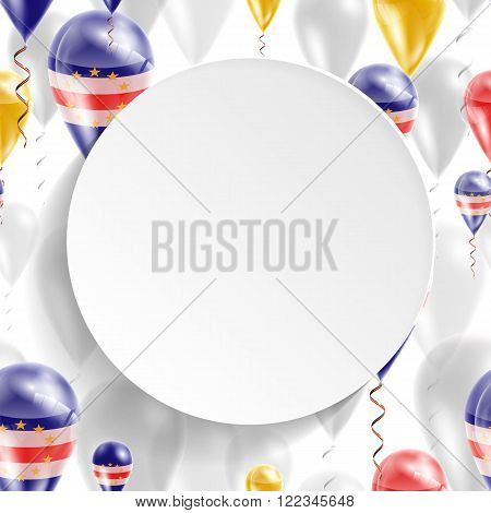 Flag of Cape Verde. Independence Day. Flag of Micronesia on air balloon. Celebration and gifts. Balloons on the feast of the national day.  Use for brochures, printed materials, signs, elements