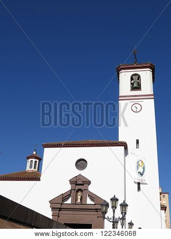 Fuengirola church belfry on sunny day Andalucia Spain