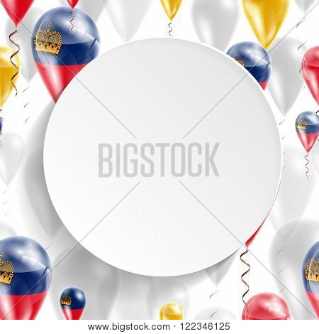 Flag of Liechtenstein. Independence Day. Flag of Micronesia on air balloon. Celebration and gifts. Balloons on the feast of the national day.  Use for brochures, printed materials, signs, elements