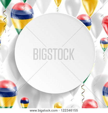 Flag of Mauritius. Independence Day. Flag of Micronesia on air balloon. Celebration and gifts. Balloons on the feast of the national day.  Use for brochures, printed materials, signs, elements
