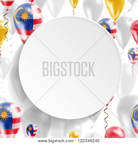 Flag of Malaysia. Independence Day. Flag of Micronesia on air balloon. Celebration and gifts. Balloons on the feast of the national day.  Use for brochures, printed materials, signs, elements