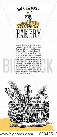 Bakery. Mill, wheat, ears, rolls, pastries, bread, baguette, rolling pin, basket. Vintage hand drawn vector engraving illustration for logotype, label, poster, brochures.
